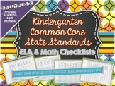 Checklist for ELA and Math Common Core Standards Kindergarten