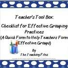 Checklist for Effective Grouping Practices During Instruction
