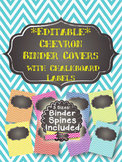 Chevron Binder Covers & Spines with Chalkboard Labels-EDITABLE