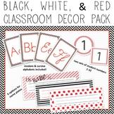 Chevron & Stripes EDITABLE Decor Pack - black, white, & red theme