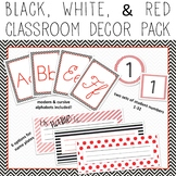 Chevron & Stripes EDITABLE Decor Pack - black, white, & red theme