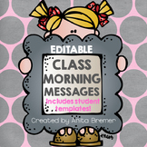 EDITABLE Class Morning Message Charts
