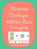 Christmas Clothespin Addition Facts 1's through 9's-Center fun