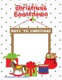 Christmas Countdown Math File Folder Activity Manipulative