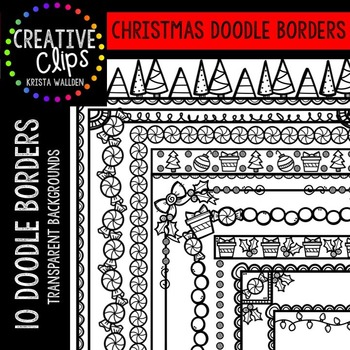 Christmas Doodle Borders {Creative Clips Digital Clipart}