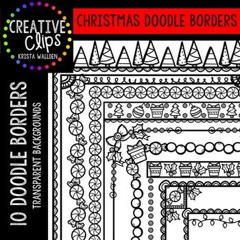 Christmas Doodle Borders {Creative Clips Digital Clipart}