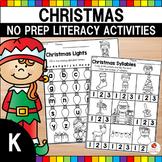 Christmas Kindergarten Literacy Worksheets (Common Core Aligned)