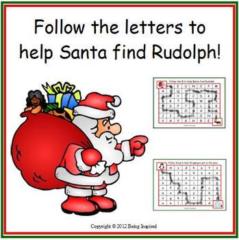 Christmas Letter Maze freebie - Help Santa find Rudolph!