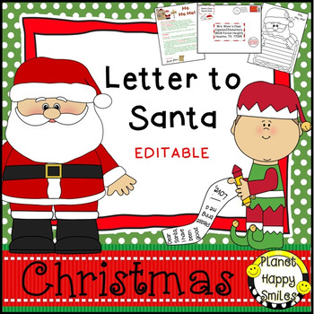 Christmas Activity ~ Letter to Santa (EDITABLE)