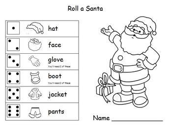 Christmas Math - Roll A Santa Game