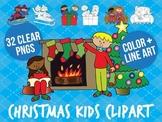 Christmas kids clip art set