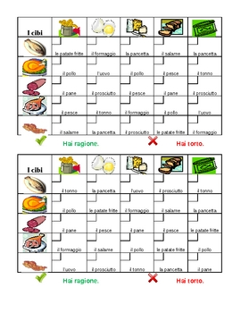 Cibi (food in Italian) Grid vocabulary activity