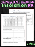 Claims Evidence and Reasoning Task Insolation Seasons Quiz