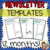 Class Newsletter Templates (12 months editable text)