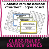 Class Rules Review Games: Fun paper-based & PowerPoint act