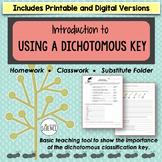 Classification Using a Dichotomous Key Homework or Classwo