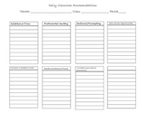 Classroom Accommodations Sheet