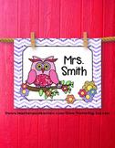 Christmas Gift Personalized Teacher Name Sign Owl Chevron