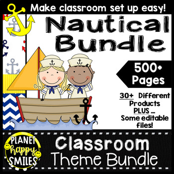 Classroom Decor Theme Bundle ~ Nautical