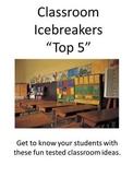 """Classroom Icebreakers """"Top 5"""""""