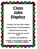 Classroom Jobs Display, Help Wanted, and Application!