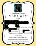 Classroom Labels - Line Art Design (text editable)