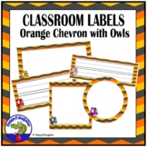Classroom Labels - Owls and Chevron