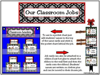 Classroom Leaders Job Cards Black & White options