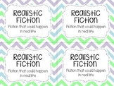 Classroom Library Labels by Genre - Purple Blue and Green Chevron