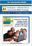 Classroom Math Package - Grade K1- Algebra 1 (10 Students,