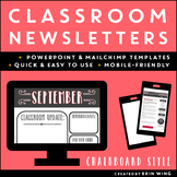 Classroom Newsletter Templates: Chalkboard Style