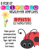 Editable Newsletter Templates (10 included): Ladybug Theme