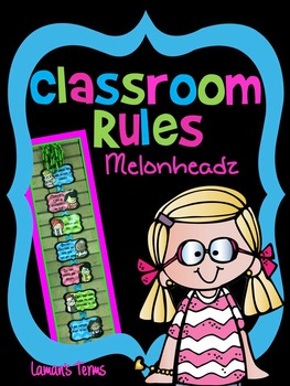 Classroom Rules / Labels Editable Chevron Melonheadz themed