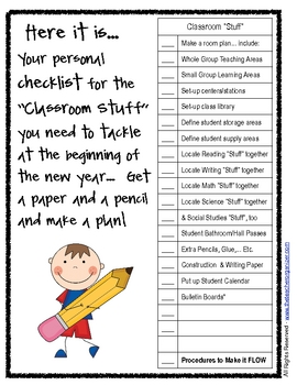 "Classroom Set-up 101: ""Classroom Stuff"" Checklist"
