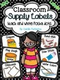 Classroom Supply Labels {Black & White Polka Dot Theme}