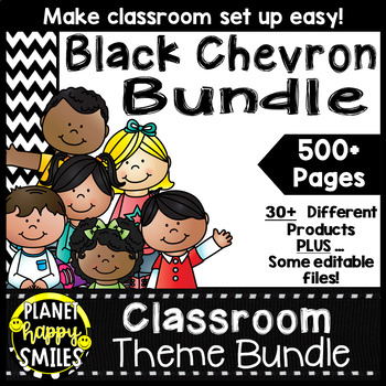 Classroom Theme Bundle ~ Chevron Black and White Print