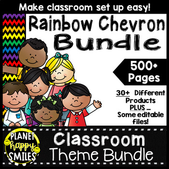 Classroom Theme Bundle ~ Chevron Rainbow Print with black