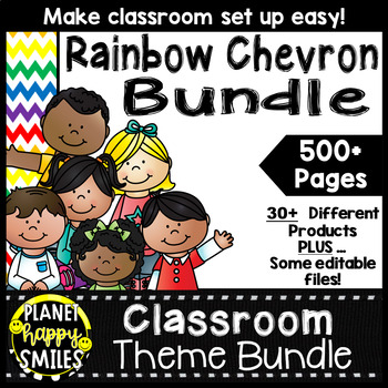 Classroom Theme Bundle ~ Chevron Rainbow Print with white