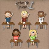 Clip Art Classroom 2 Teachers, 20 Students hands up, readi