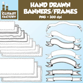 Clip Art: Hand Drawn Banners and Frames - 20 Digital Banne