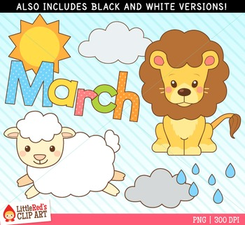 March Clipart - Lion and Lamb - blacklines included