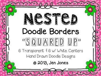 """Clip Art: Nested Doodle Borders/Frames """"Squared Up"""" (Perso"""