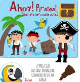 Clipart: Cute Pirates and Treasure
