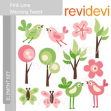 Clipart Pink Lime Morning Tweet E001 (birds, trees, pink,