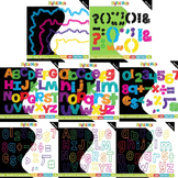Clipart – Sketchy Rainbow Themed Bundle (Letters, Numbers