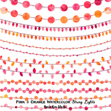Clipart - String Lights Pink and Orange Watercolor