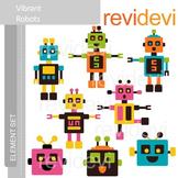 Clipart Vibrant Robots E025 (clip art for teachers)