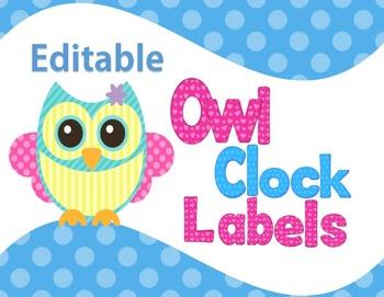 Clock Labels Pastel Owl