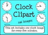Clocks Telling Time Clip Art 5 Minute Intervals {146 images}