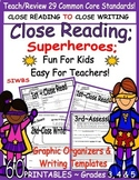 Close Reading Superheroes; Fun for Kids ~ Easy for Teacher